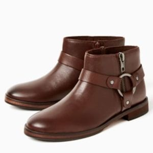 Zara girls brown leather ankle boots